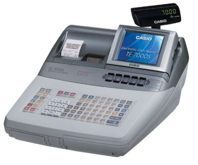 "Casio TE-7000 Cash Register w/ Large Multi-Line Color LCD Tilit Screen, Compact Flash and Multi-Purpose Keys. <font color=""#FF0000"">*NEW*</font>"